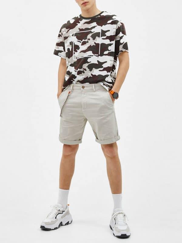 Pale Blue Drawstring Waist Jersey Shorts