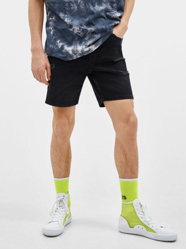 Green Check Print Swimming Shorts